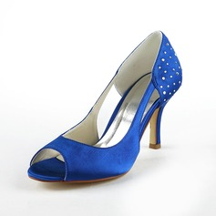 Women's Satin Cone Heel Peep Toe Sandals With Rhinestone Hollow-out