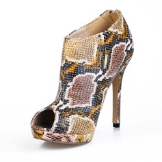 Leatherette Stiletto Heel Peep Toe Ankle Boots With Animal Print (088016951)