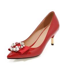 Donna Similpelle Tacchi a cono Stiletto Punta chiusa con Perla imitazione scarpe