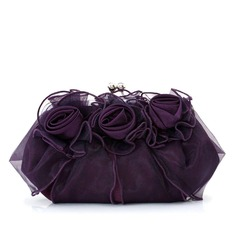 Gorgeous Satin/Tulle With Flower Clutches