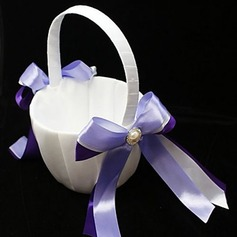 Flower Girl Basket With Double Ribbons And Faux Pearl(102018101)