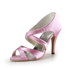 Satin Stiletto Heel Peep Toe Pumps Sandals Wedding Shoes (047015283)