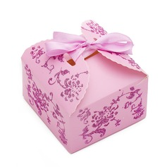 Diseño Floral Cuboidea Papel para tarjetas Cajas de regalos (Juego de 12)