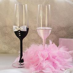 La novia y el novio de Diseño Vidrio sin Plomo Flautas tostado (Juego De 2)