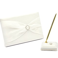 Simple Rhinestones/Bow Guestbook & Pen Set