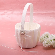 Elegantti Flower Basket sisään Satiini jossa Nauhat & Faux Helmi