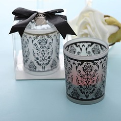 Damask Traditions Frosted Glass Tea Light Holder(096017611)