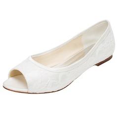 Frauen Seide wie Satin Flascher Absatz Flache Schuhe Peep Toe