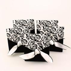 Elfenbein und Schwarz Schnörkel Geschenkboxen mit Bänder (Satz von 12)