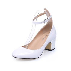Real Leather Chunky Heel Pumps Closed Toe With Buckle shoes