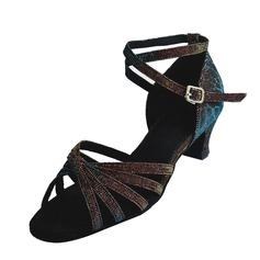 Niños Cuero Tacones Sandalias Danza latina con Tira de tobillo Zapatos de danza