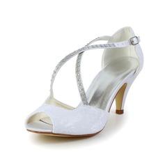 Women's Lace Cone Heel Peep Toe Sandals With Rhinestone