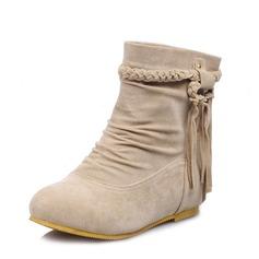 Frauen Wildleder Niederiger Absatz Stiefelette Schuhe