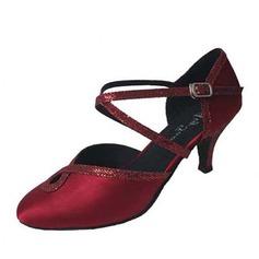 De mujer Satén Brillo Chispeante Tacones Moderno con Tira de tobillo Hebilla Zapatos de danza