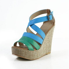 Leatherette Wedge Heel Sandals Platform Peep Toe shoes