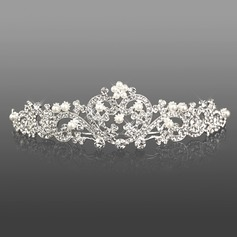 lega di argento strass e perle ritaglio cuore tiara nuziale (042008193)