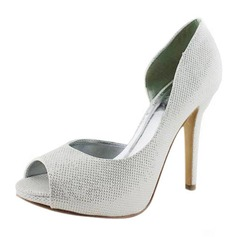 Leatherette Stiletto Heel Peep Toe Platform Pumps Wedding Shoes (047011885)