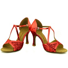 De mujer Brillo Chispeante Tacones Sandalias Danza latina Salsa Fiesta con Tira de tobillo Zapatos de danza