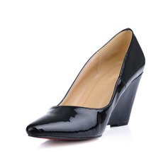 Patent Leather Wedge Heel Closed Toe Wedges Pumps