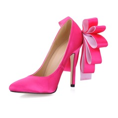 Women's Silk Like Satin Stiletto Heel Closed Toe Pumps With Satin Flower