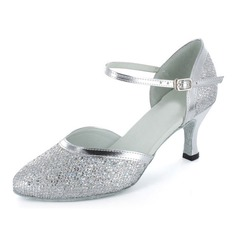 Women's Sparkling Glitter Heels Pumps Modern Ballroom With Ankle Strap Dance Shoes