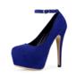 Frauen Samt Stöckel Absatz Absatzschuhe Plateauschuh Geschlossene Zehe mit Schnalle Zuschnüren Schuhe