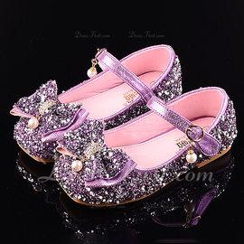 d487803d4a24f Fille de bout rond Bout fermé similicuir Glitter mousseux talon plat  Sandales Chaussures plates Chaussures de fille de fleur avec Bowknot Velcro  (207185192)