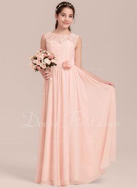 A-Line Scoop Neck Floor-Length Chiffon Junior Bridesmaid Dress With Flower(s)
