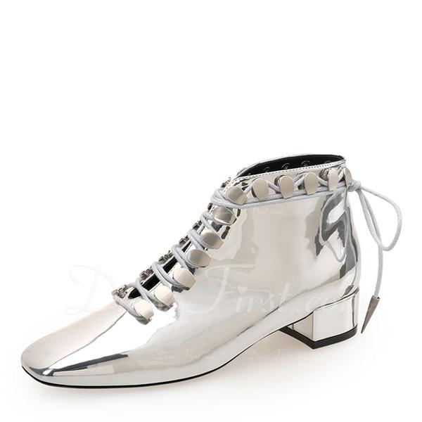 Kvinder Patenteret Læder Stor Hæl Lukket Tå Ankelstøvler