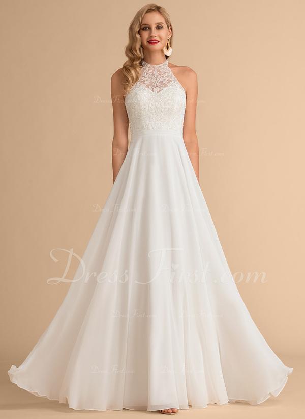 A Line High Neck Floor Length Chiffon Wedding Dress 002215656