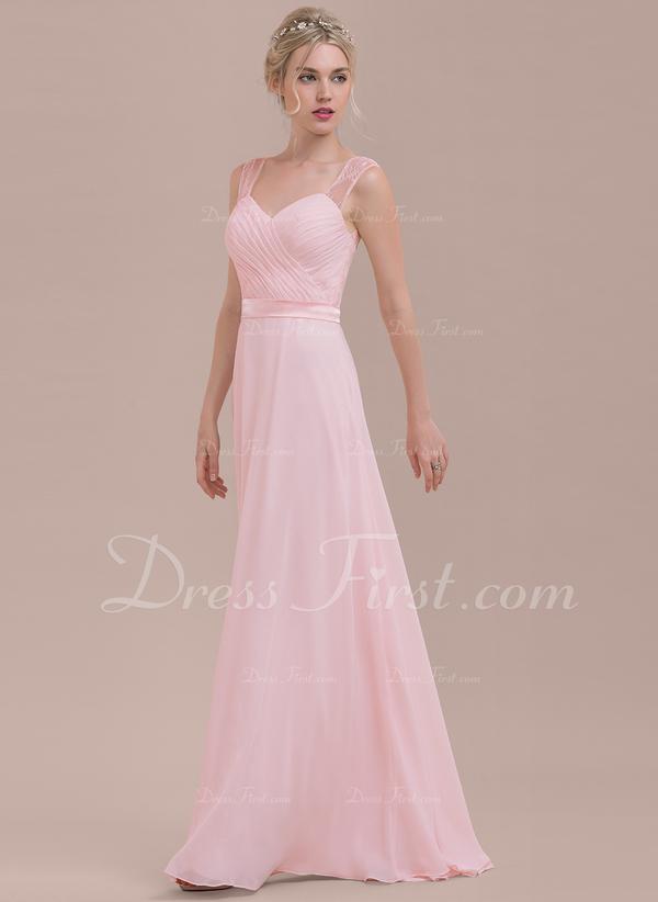 A-Line/Princess Sweetheart Floor-Length Chiffon Bridesmaid Dress ...