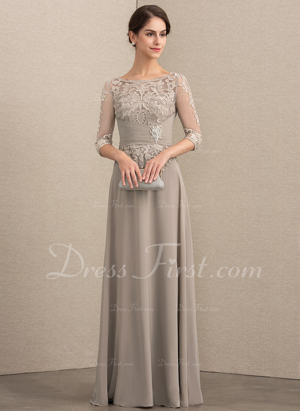 2db4b3c523 Loading zoom. Loading. Color: Taupe. A-Line/Princess Scoop Neck Floor-Length  Chiffon Lace Mother of the Bride Dress With Crystal Brooch .