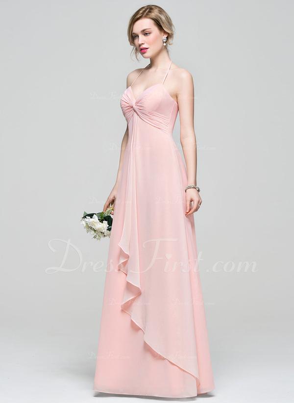 Empire Halter Floor-Length Chiffon Bridesmaid Dress With Cascading ...