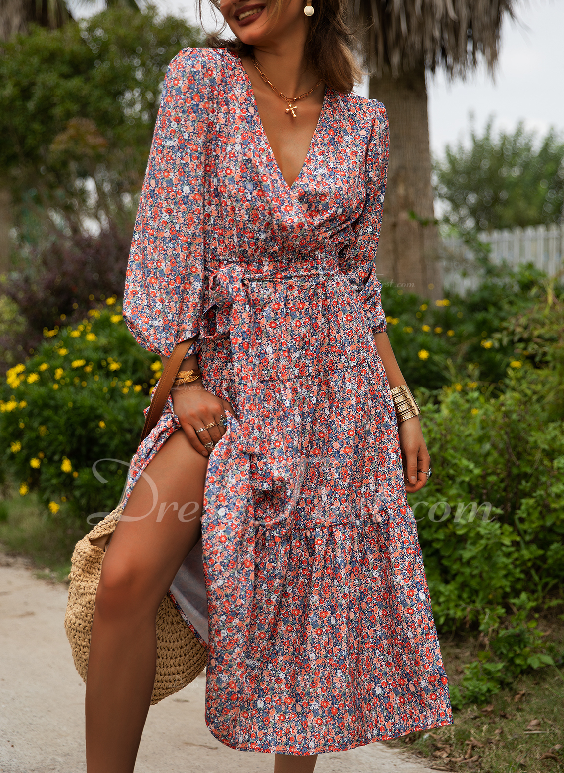 Floral A-line 1/2 Sleeves Midi Casual Vacation Skater Dresses