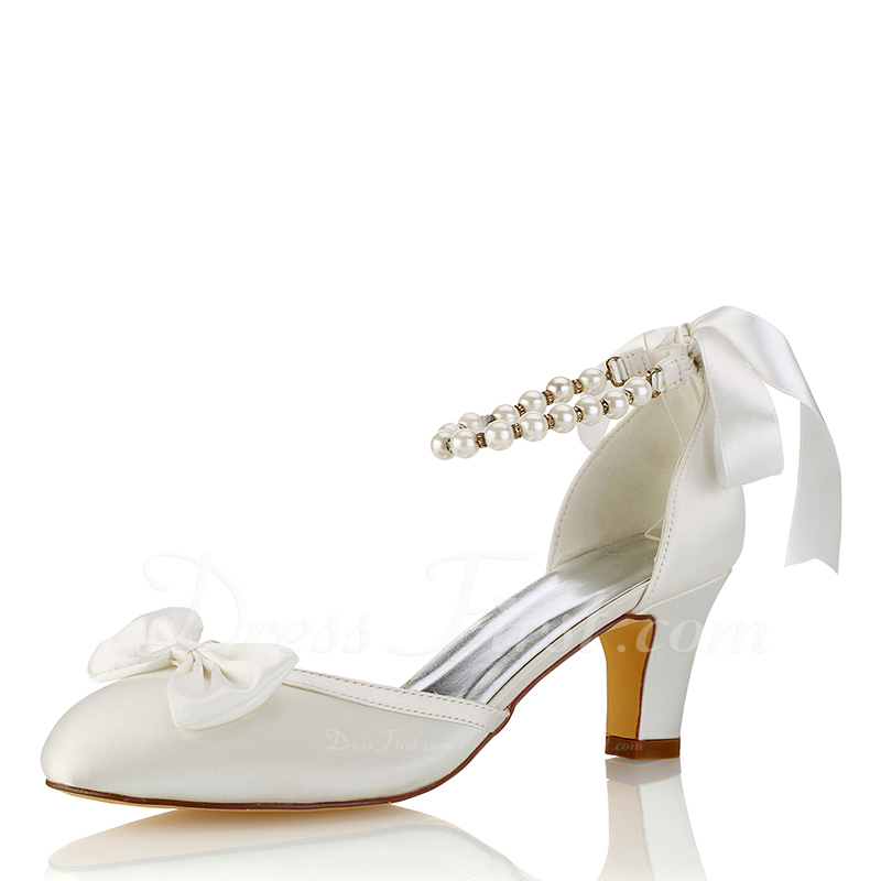 28a3e24f127 Women s Silk Like Satin Stiletto Heel Closed Toe Pumps With Bowknot Crystal   187718. Wedding Shoes