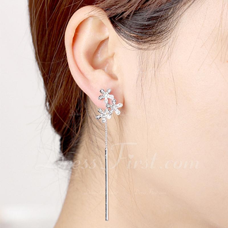 Blomst Formet Legering Crystal med Imitert Krystall Kvinner Fashion øredobber (Selges i ett stykke)