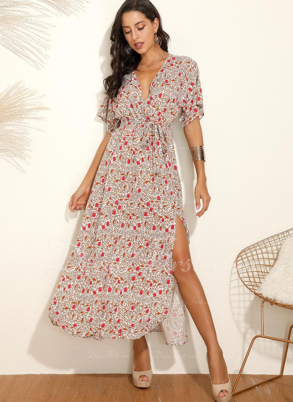 Maxi V-Ausschnitt Polyester Drucken Kurze Ärmel Modekleider