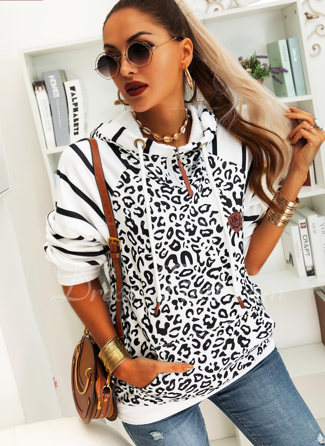 A righe leopardo Maniche lunghe Con Cappuccio