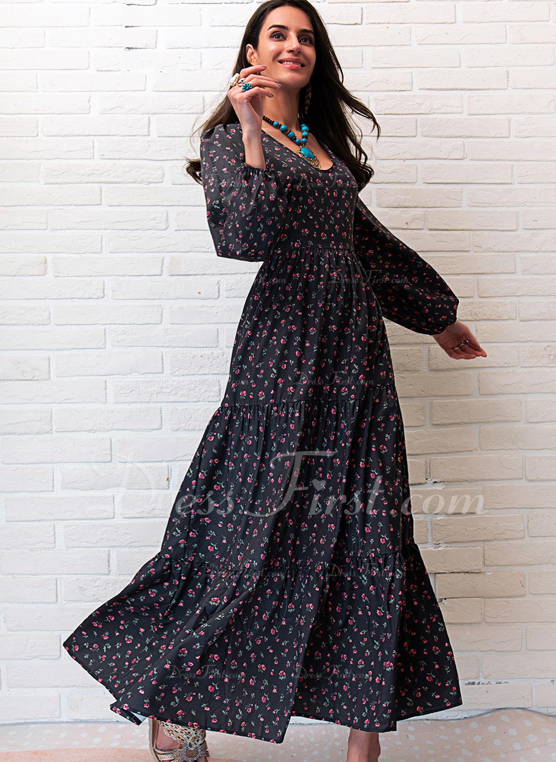 Druck A-Linien-Kleid Lange Ärmel Maxi Lässige Kleidung Skater Modekleider