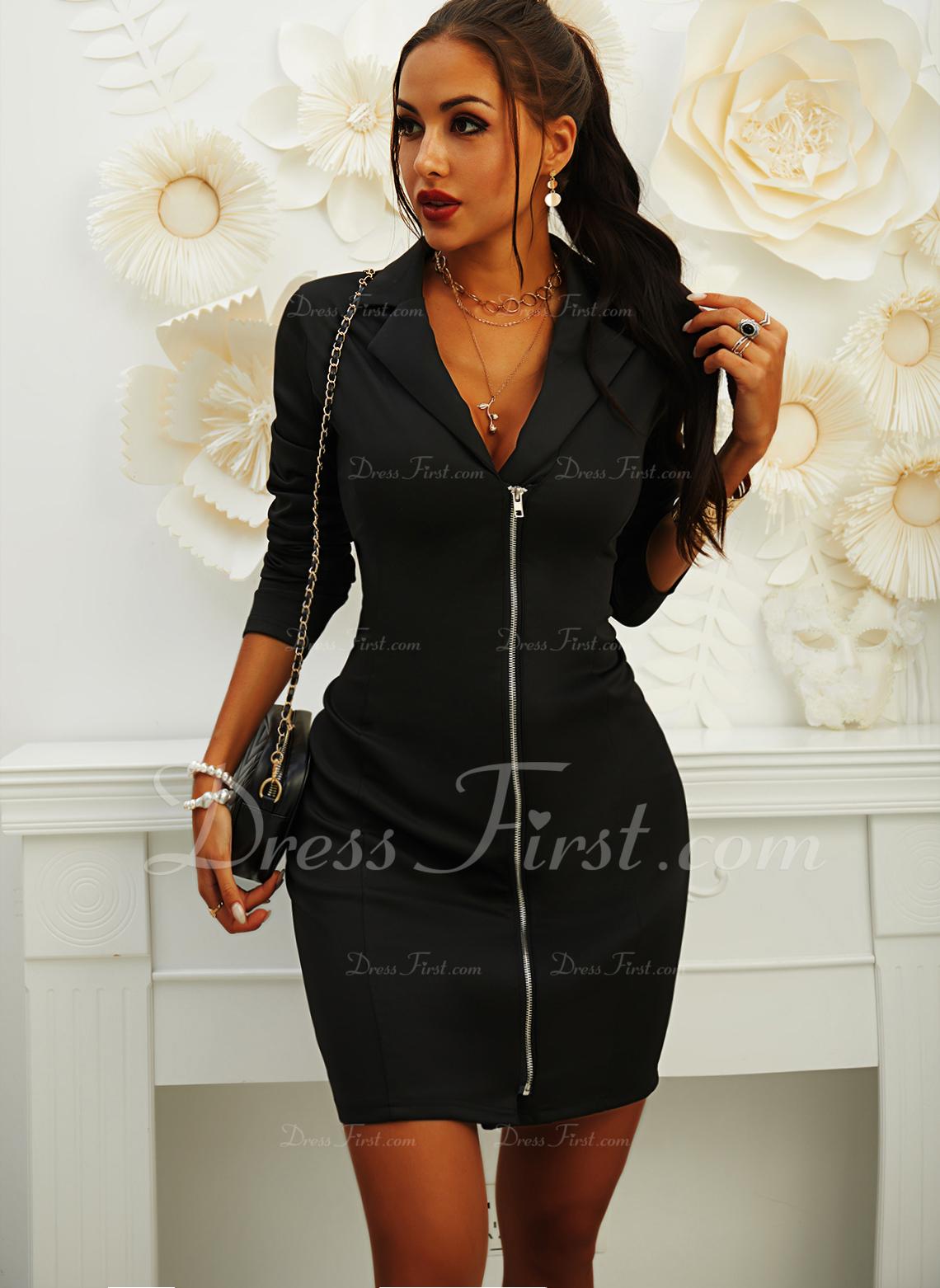 Solid Bodycon Long Sleeves Mini Little Black Casual Elegant Dresses