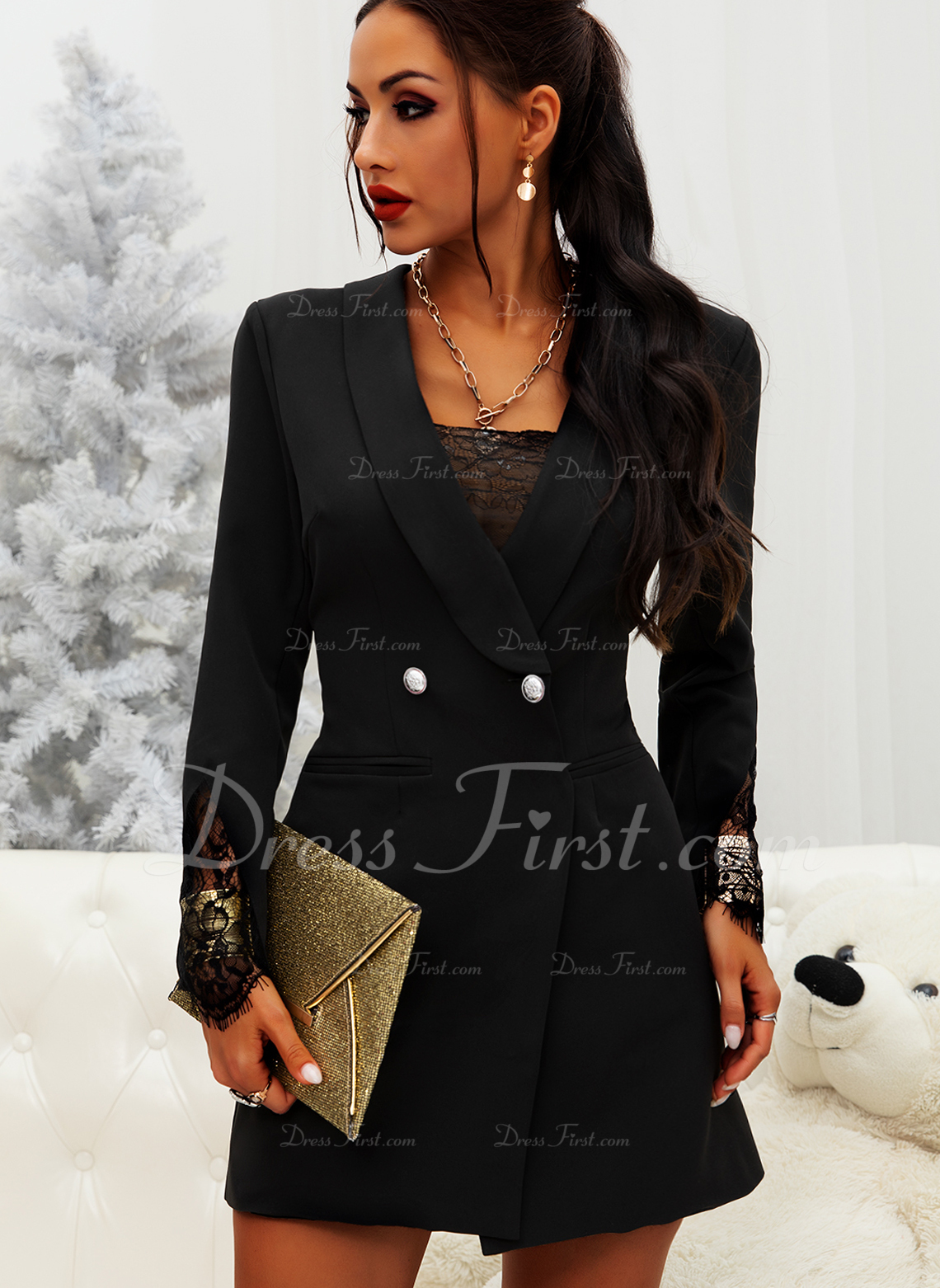 Lace Solid Bodycon Long Sleeves Mini Little Black Elegant Dresses