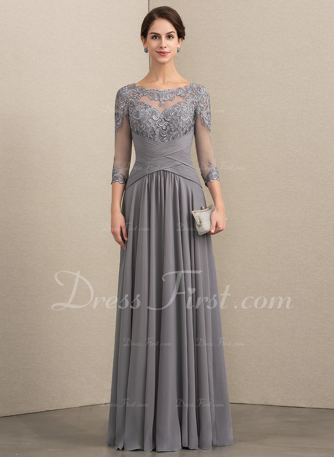 f34ff8b40d6 Loading zoom. Loading. Color  As Picture. A-Line Scoop Neck Floor-Length Chiffon  Lace Mother of the Bride Dress With Ruffle (008154438)