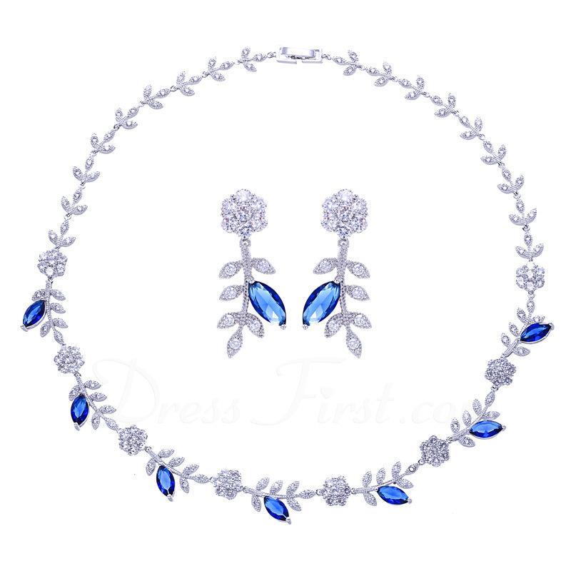 Ladies ' Przepiękny Miedź/Platinum Plated Z Sześcienny Cyrkonia Zestawy biżuterii Ją/Znajomi