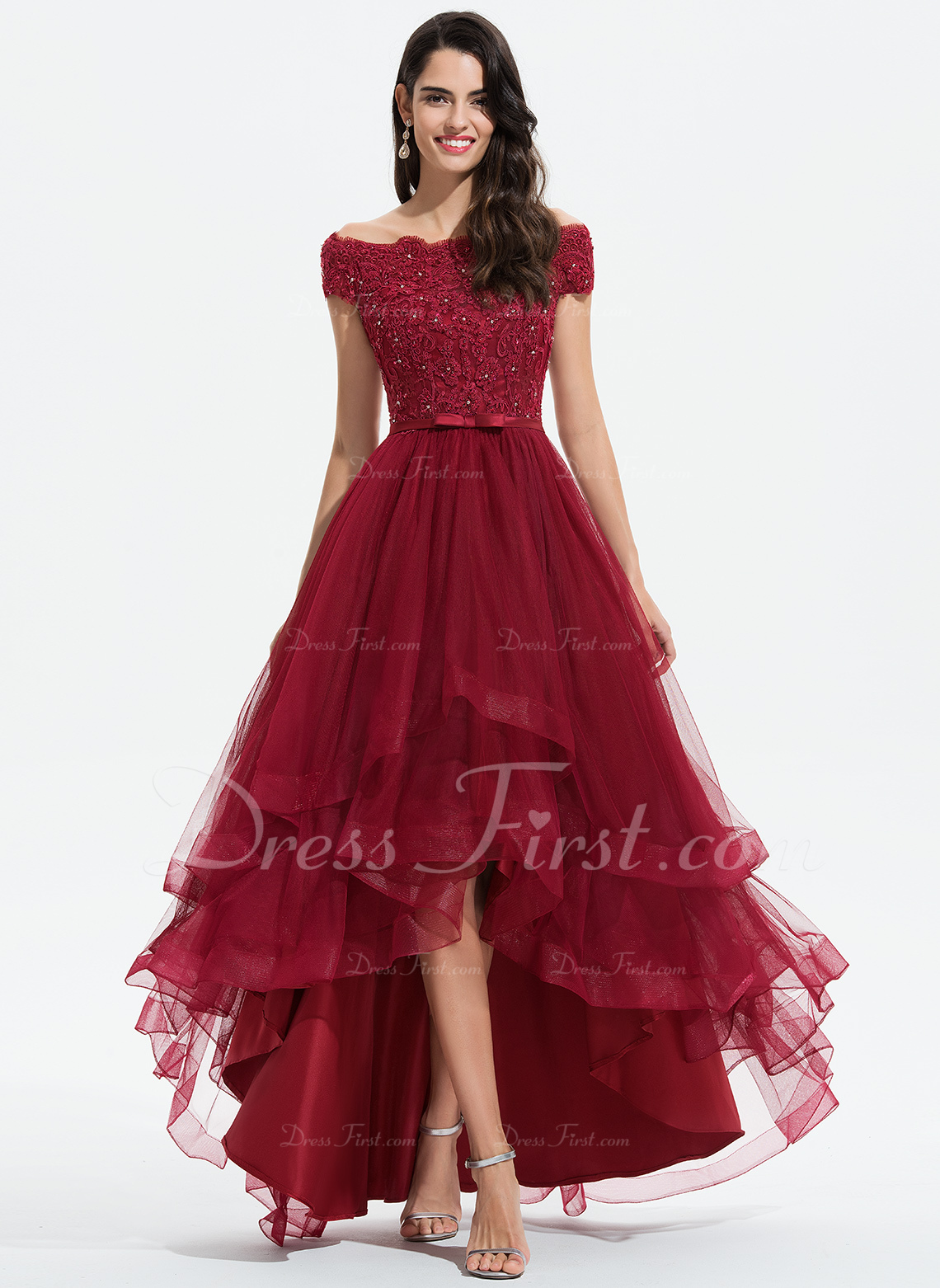 A-Line Off-the-Shoulder Asymmetrical Tulle Wedding Dress With Beading Sequins Bow(s)