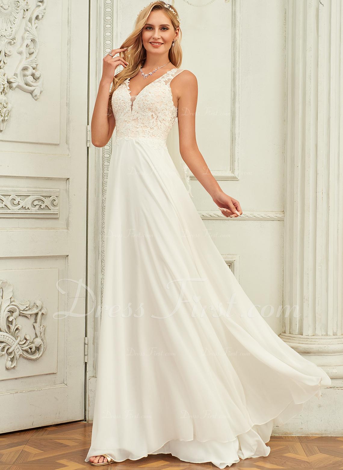 A-Line V-neck Sweep Train Chiffon Lace Wedding Dress With Lace