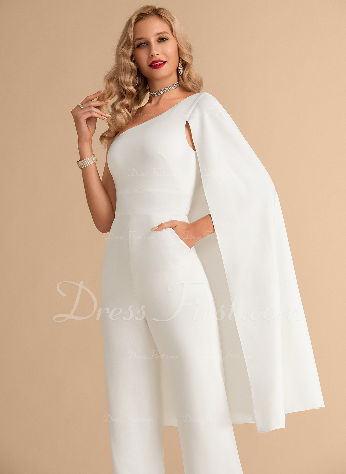 A-Line One-Shoulder Floor-Length Stretch Crepe Wedding Dress With Pockets