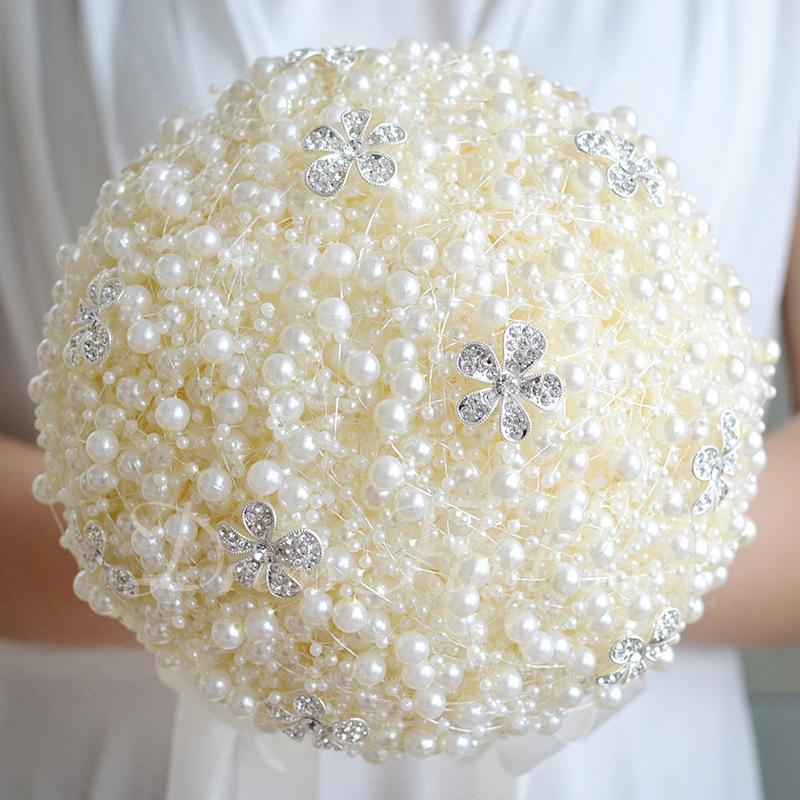 Sencillas y elegantes Redondo Perlas de imitación Ramos de novia - Ramos de novia