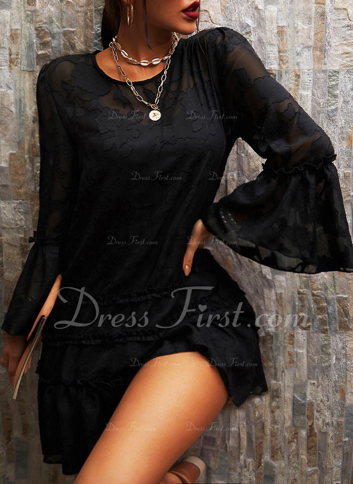 レース 固体 シフトドレス フレアスリーブ 長袖 ミニ リトルブラックドレス エレガント ファッションドレス