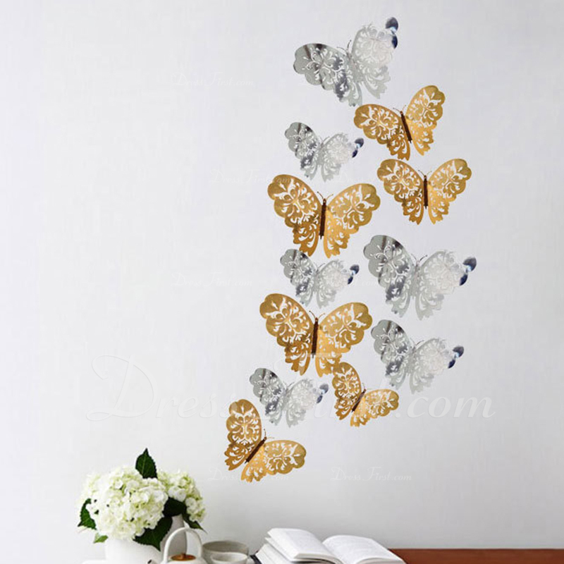 バタフライデザイン 美しい カード紙 装飾アクセサリー (12パックセット)