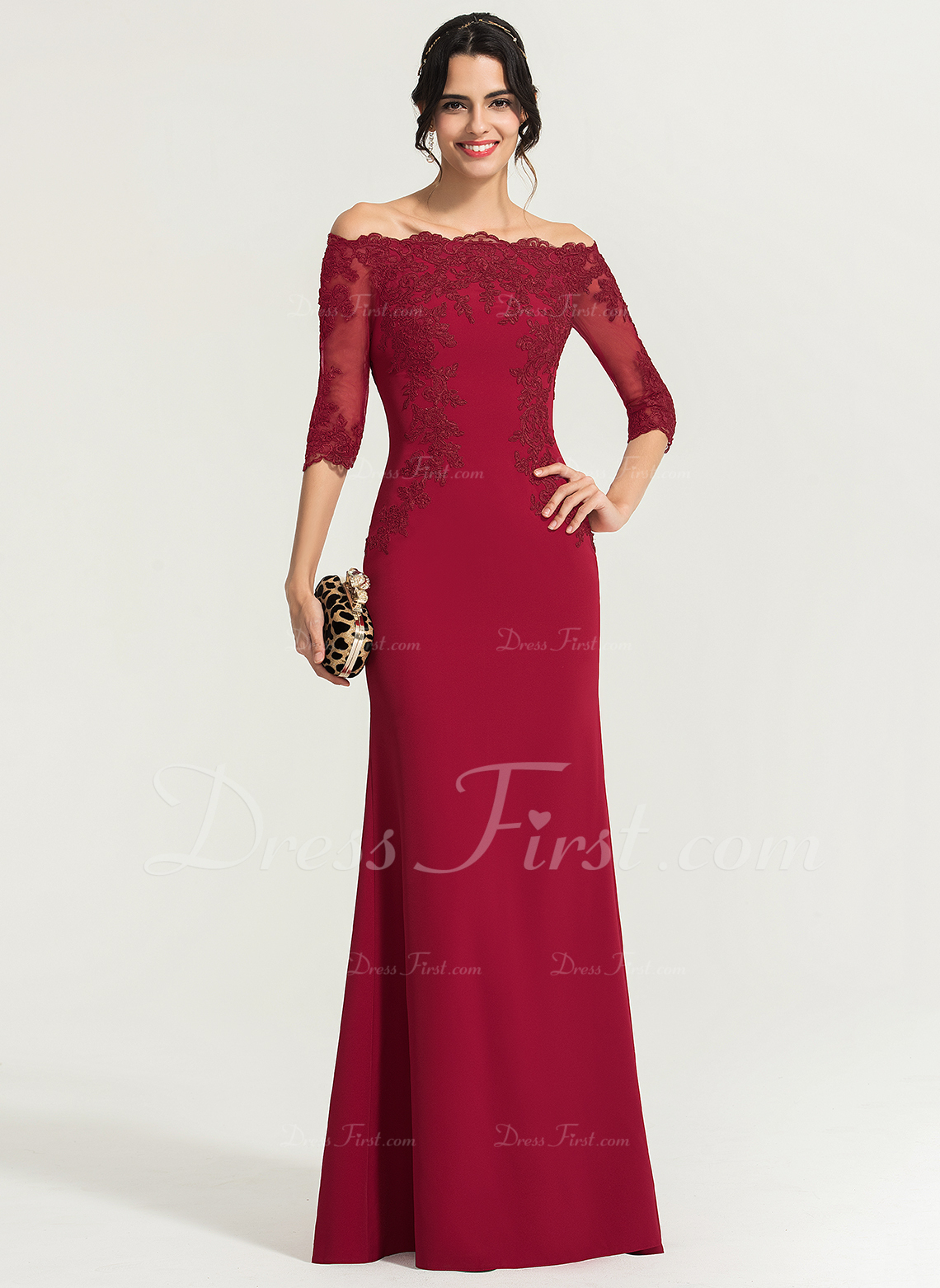 Sheath/Column Off-the-Shoulder Floor-Length Stretch Crepe Evening Dress